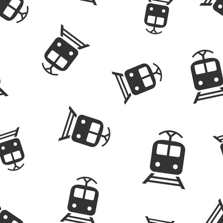 Nahtloses Musterhintergrund der Zugtransportikone. Vektorgrafik