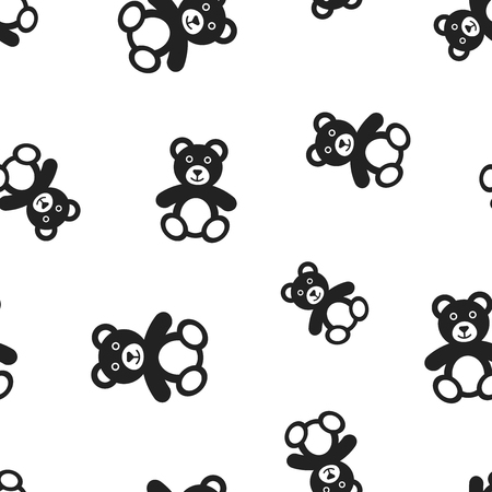 Teddy bear plush toy icon seamless pattern background.