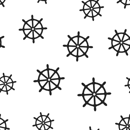 Steering wheel rudder icon seamless pattern background.