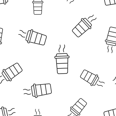 Coffee cup icon seamless pattern background.
