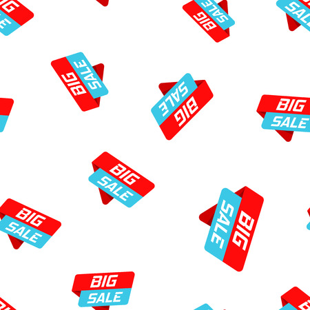 Big sale banner badge icon seamless pattern background.