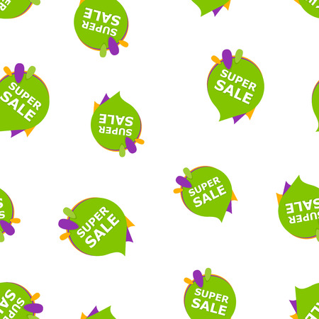 Super sale banner badge icon seamless pattern background.