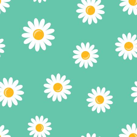 Chamomile flower icon seamless pattern background. 일러스트