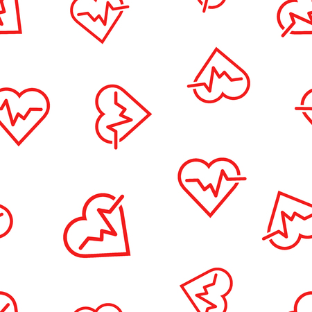 Heartbeat line with heart icon seamless pattern background. Business concept vector illustration. Heart rhythm symbol pattern. Illustration