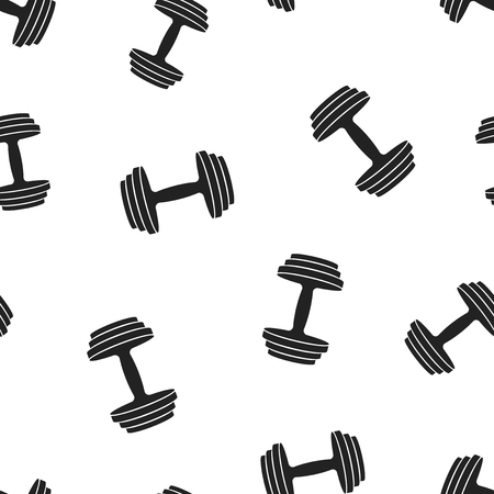 Dumbbell fitness gym icon seamless pattern background. Business concept vector illustration. Barbell bodybuilding sport symbol pattern.
