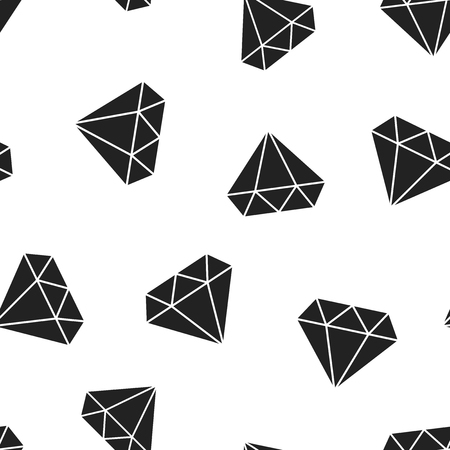 Diamond jewel gem icon seamless pattern background. Business concept vector illustration. Jewelry brilliant gemstone symbol pattern. Иллюстрация