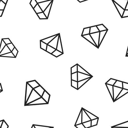 Diamond jewel gem icon seamless pattern background. Business concept vector illustration. Jewelry brilliant gemstone symbol pattern. Ilustrace