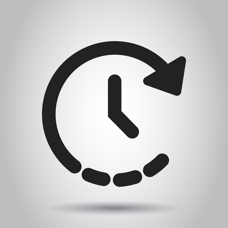 Clock time icon in flat style. Vector illustration. Business concept clock timer pictogram. Ilustrace