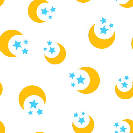 Nighttime moon and stars icon seamless pattern background. Business concept vector illustration. Lunar night symbol pattern. 向量圖像