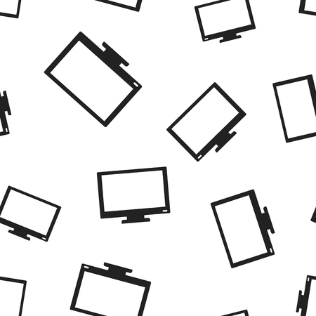 Computer monitor icon seamless pattern background. Business concept vector illustration. Tv monitor display symbol pattern. Illustration