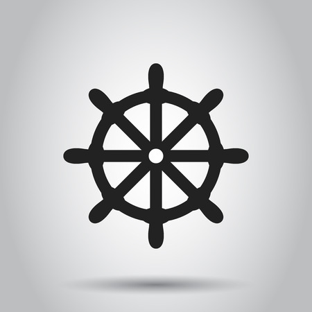 Steering wheel rudder icon. Vector illustration. Business concept ship wheel pictogram.