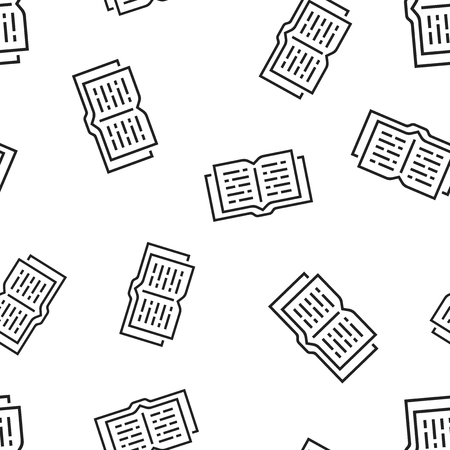 Open book icon seamless pattern background. Business concept vector illustration. Education library symbol pattern. Foto de archivo - 103582759