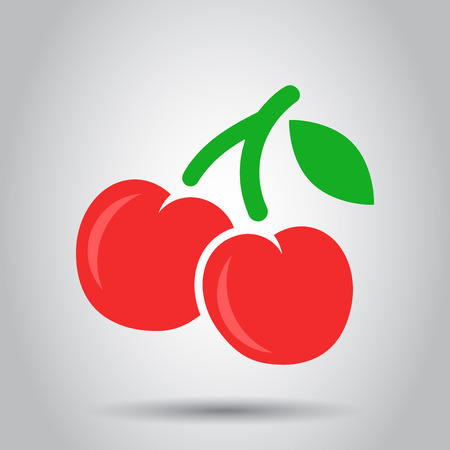 Cherry berry vector icon. Cherries fruit illustration. Sweet cherry healthy food.