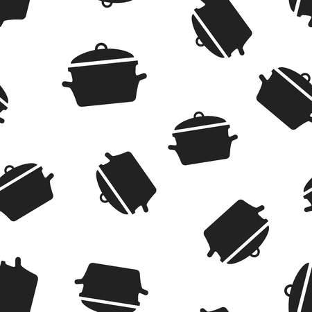 Cooking pan icon seamless pattern background. Business concept vector illustration. Kitchen pot saucepan symbol pattern.