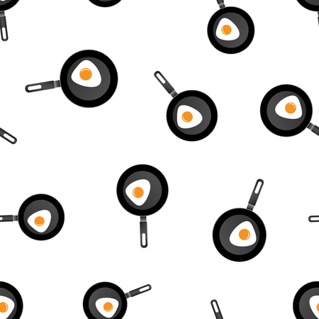 Realistic frying pan with egg icon seamless pattern background. Business concept vector illustration. Skillet kitchen symbol pattern.