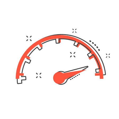 Cartoon max speed icon in comic style. Speedometer sign illustration pictogram. Tachometer splash business concept.