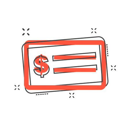 Cartoon money check icon in comic style. Bank checkbook illustration pictogram. Check sign splash business concept. Illustration
