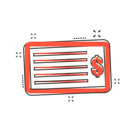 Cartoon money check icon in comic style. Bank checkbook illustration pictogram. Check sign splash business concept. Vectores