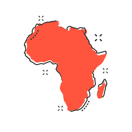 Cartoon Africa map icon in comic style. Africa illustration pictogram. Country geography sign splash business concept.