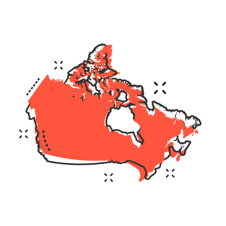 Cartoon Canada map icon in comic style. Canada illustration pictogram. Country geography sign splash business concept.