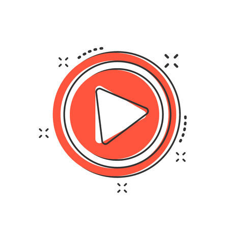 Cartoon play button icon in comic style. Play illustration pictogram. Click sign splash business concept. 일러스트