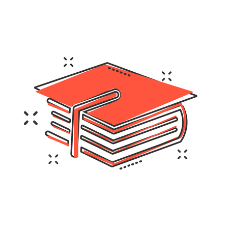 Cartoon education and book icon in comic style. Bachelor cap illustration pictogram. Education sign splash business concept.
