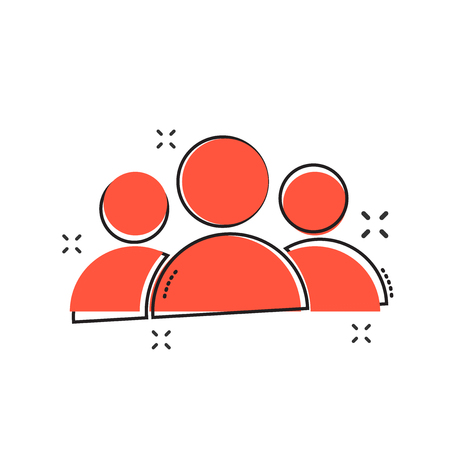 Cartoon people icon in comic style. People illustration pictogram. Users person sign splash business concept.