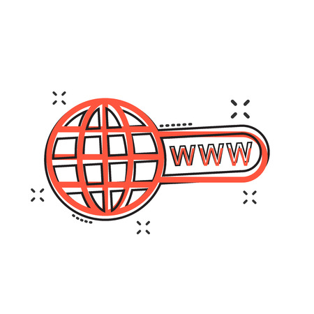 Vector cartoon go to web icon in comic style. Globe world sign illustration pictogram. WWW url business splash effect concept.