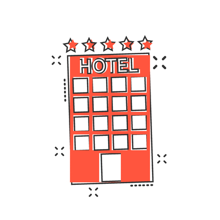 Vector cartoon hotel icon in comic style. Tower sign illustration pictogram. Hotel apartment business splash effect concept.