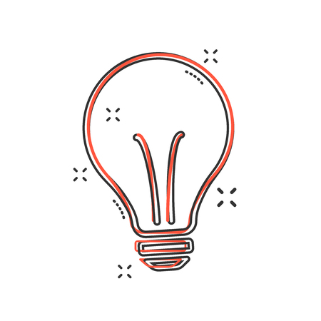 Vector cartoon halogen lightbulb icon in comic style. Light bulb sign illustration pictogram. Idea business splash effect concept.
