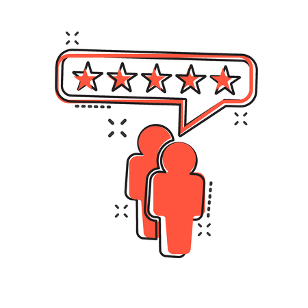 Vector cartoon customer reviews, user feedback icon in comic style. Rating sign illustration pictogram. Stars rating business splash effect concept. Illustration
