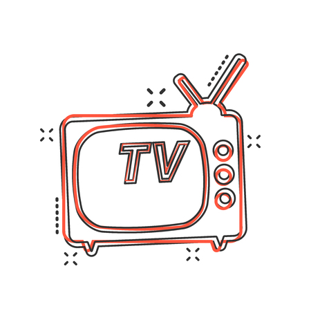 Vector cartoon Tv icon in comic style. Television sign illustration pictogram. Tv business splash effect concept. 向量圖像