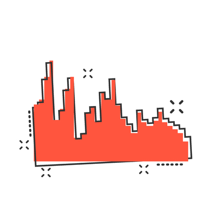 Vector cartoon sound waveforms icon in comic style. Musical pulse sign illustration pictogram. Equalizer business splash effect concept.