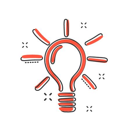 Vector sketch light bulb icon in comic style. Hand drawn idea doodle sign illustration pictogram. Bulb business splash effect concept. 일러스트