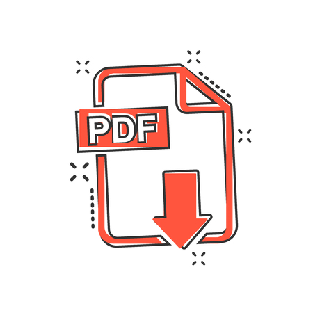 Vector cartoon PDF download icon in comic style. PDF format sign illustration pictogram. Document business splash effect concept.