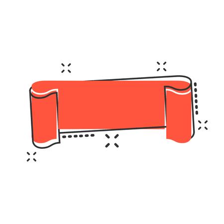Vector cartoon empty ribbon icon in comic style. Blank sticker label sign illustration pictogram. Ribbon business splash effect concept. Vettoriali