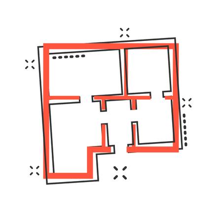 Vector cartoon house plan icon in comic style. Architect scheme sign illustration pictogram. House scheme business splash effect concept. Vettoriali