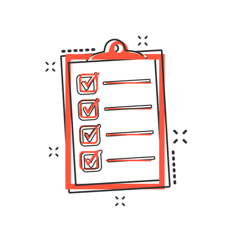 Vector cartoon to do list icon in comic style. Checklist, task list sign illustration pictogram. Reminder business splash effect concept. 일러스트