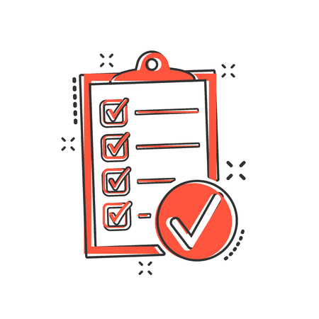 Vector cartoon checklist icon in comic style. Checklist, task list sign illustration pictogram. Survey business splash effect concept.