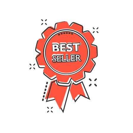 Vector cartoon best seller ribbon icon in comic style. Medal sign illustration pictogram. Bestseller business splash effect concept.