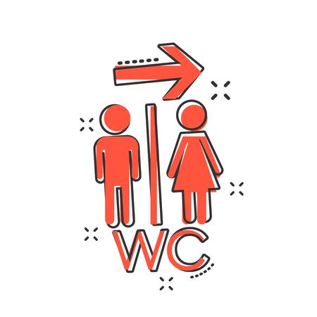 Vector cartoon WC, toilet icon in comic style. Men and women restroom sign illustration pictogram. WC business splash effect concept. Çizim