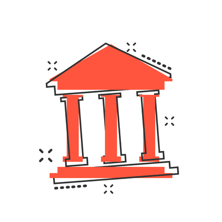 Vector cartoon bank building icon in comic style. Museum sign illustration pictogram. Building business splash effect concept. 向量圖像