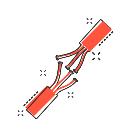 Vector cartoon electric plug sign icon in comic style. Power plug sign illustration pictogram. Electric cable business splash effect concept. Vetores