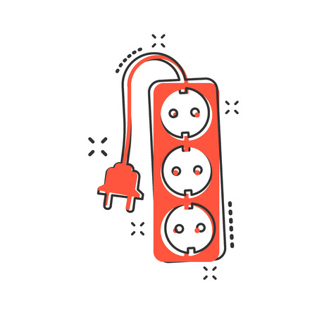 Vector cartoon extension cord sign icon in comic style. Electric power socket sign illustration pictogram. Power socket business splash effect concept. 向量圖像