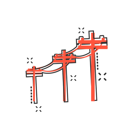 Icône de lignes à haute tension de dessin animé de vecteur dans le style comique. Pictogramme d'illustration de signe de poteau électrique. Concept d'effet d'éclaboussure d'affaires de ligne électrique. Vecteurs