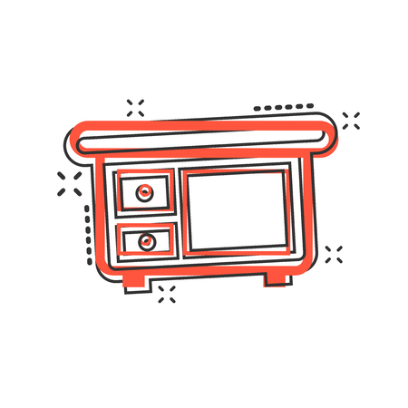 Vector cartoon cupboard furniture icon in comic style. Furniture sign illustration pictogram. Cupboard business splash effect concept.