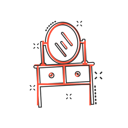 Vector cartoon furniture table with mirror computer icon in comic style. Mirror sign illustration pictogram. Furniture business splash effect concept. Stock Illustratie