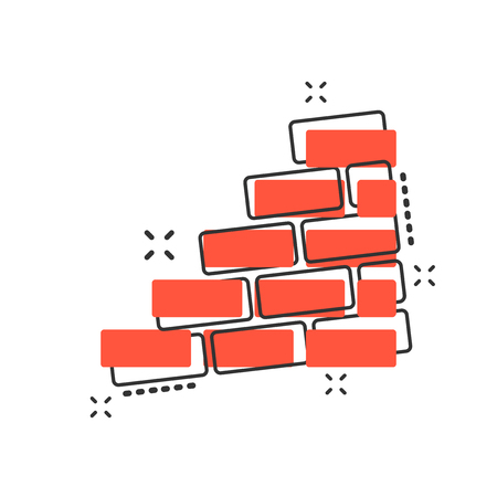 Vector cartoon wall brick icon in comic style. Wall sign illustration pictogram. Stone business splash effect concept.