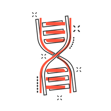 Vector cartoon dna icon in comic style. Medecine molecule sign illustration pictogram. Dna business splash effect concept.