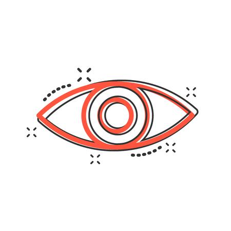 Vector cartoon eye icon in comic style. Eyeball look sign illustration pictogram. Eye business splash effect concept. Ilustração